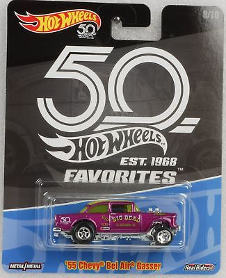 Hot Wheels 50th anniversary Favorites Real Riders 55 Chevy Gasser 1:64 Hot Wheel