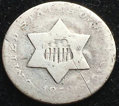 Nice Circulated 1853 Three Cent Silver Piece. Great Type Coin. Early Issue!