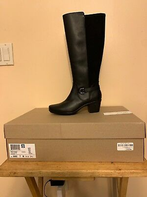 72dd1c41975 Clarks Emslie March Tall Leather Womens Boots Knee High 070m