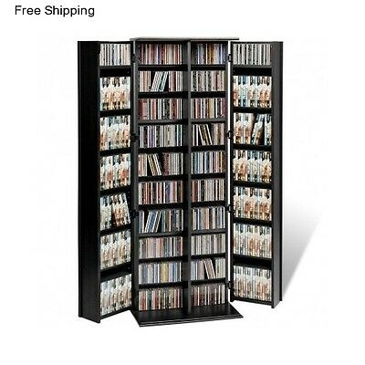 Tall Multimedia Storage Cabinet With Doors Tower Rack CD DVD Shelf Unit Stand