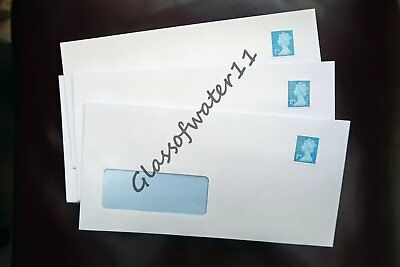 50 - Pre-Stamped Self-Seal Dl Window Envelopes With 2Nd Class Stamps Attached