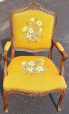 Antique Louis XVI French Style Needlepoint Armchair Provincial Fauteuil Bergere