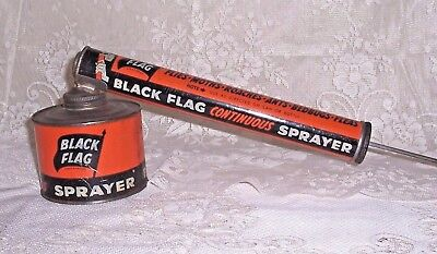 Vintage Lithographed Pressed Steel 1950's Black Flag Continuous Sprayer, Nice