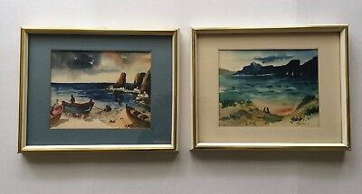 2  Vintage 1960S Signed Water Color Painting By P. Bernson Seascape