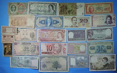 Lot of Over 20 Foreign World Notes Banknotes Currency Great Mix of Countries