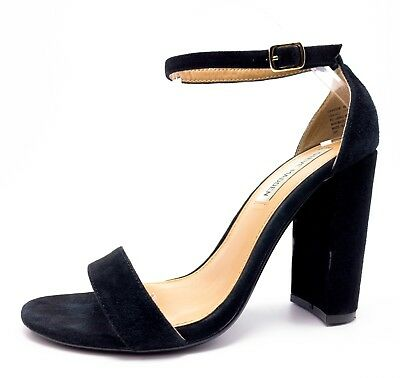 b7447bdfdbc Steve Madden Carrson Womens 8M Black Suede Ankle Strap Block Heel Sandals