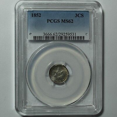1852 Three Cent Silver Piece PCGS MS 62 - Gorgeous Uncirculated!