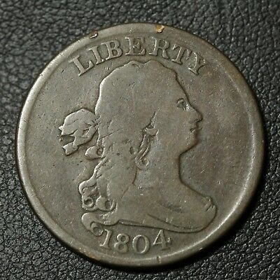 1804 Spiked Chin Draped Bust Copper Half Cent