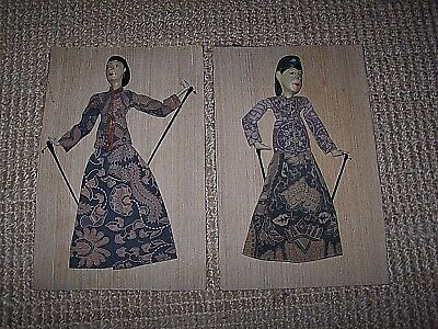Vintage Pair Theatrical Wood Rod Puppets Folk Art His Her Batik Clothes Painted