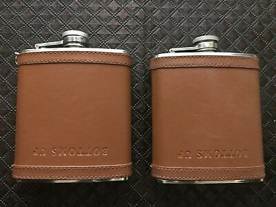 J Crew Flask - 7 oz - brown leather - bottoms up