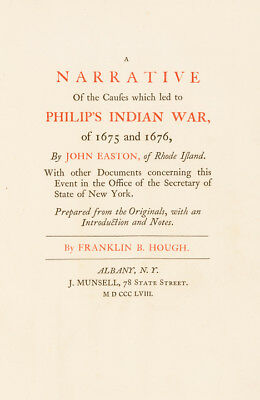 1858 1st Edition: The Causes which led to PHILIPS INDIAN WAR By JOHN EASTON