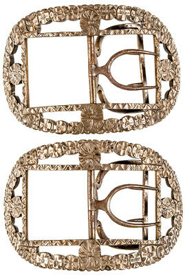 c. 1750-1780 Colonial Era Museum Quality Pair of Matched Shoe Buckles
