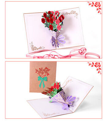 3D Pop Up Greeting Cards LOVE Rose Wedding Birthday Valentines Anniversary USA