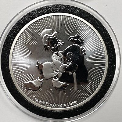 2018 Scrooge McDuck Niue Collectible Coin 1 Troy Oz .999 Fine Silver Round Medal