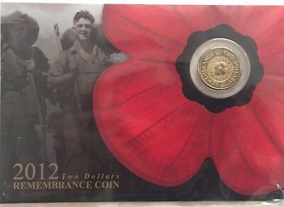 2012 $2 Gold Poppy Remembrance Coin On Card