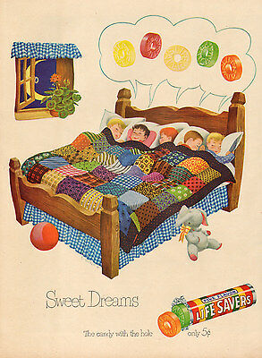 1950s vintage Candy AD LIFESAVERS Great cartoon art kids dreaming  010517