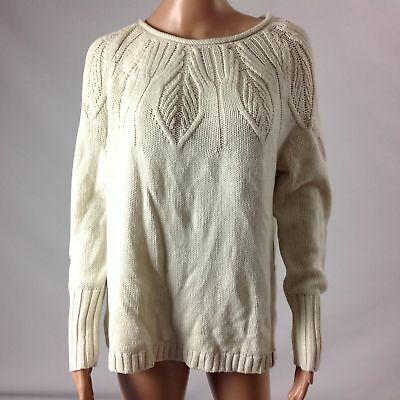 6cb5b63084 Chaps F44 Womens Sweater Cotton Blend Cable Knit Long Sleeve Cream Size M  New