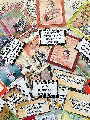 Alice In Wonderland Junk Journal Kit, 100+ Cards,  Alice pictures quotes & paper