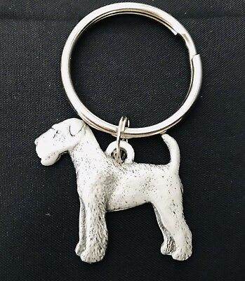 Solid Pewter AIREDALE TERRIER Dog Puppy Silver Metal Figurine Keychain