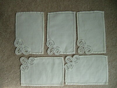 Vintage Crocheted Linen Napkins/Doilies Ivory Lot of 5