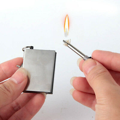 Permanent Metal Match Box Lighter Instant Survival Camping Flint Fire Starter Ed