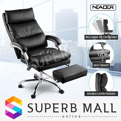 PU Leather Office Chair Ergonomic Executive Computer Recliner Seat with Footrest