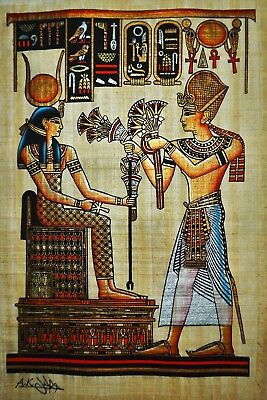 Egyptian Hand-painted Papyrus - Ramses II offering Lotus Flowers to Hathor
