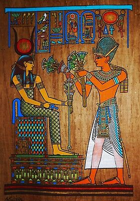 Egyptian Hand-painted Dark Papyrus - Ramses II offering Lotus Flowers to Hathor