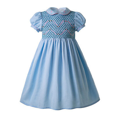 Kids Girls Hand-Smocked Dresses Toddler Christmas Party Pageant Spanish Outfits