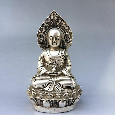 Decoration CHINESE OLD Tibet silver COLLECTABLE HANDWORK CARVED BUDDHA STATUE