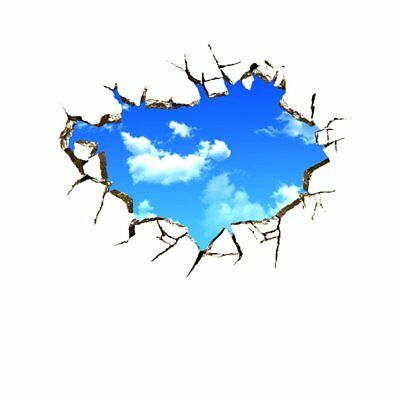 Creative Home Wall Decal Blue Sky And White Clouds 3D Decorative Removable  KQ