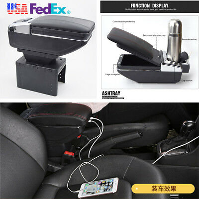 Universal Black Car Center Armrest Storage Box LED Light USB Charging Cup Holder