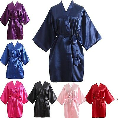 ab6c18d831 Hot Women robe Silk Satin Robes Wedding Bridesmaid Bride Gown kimono Solid  robe