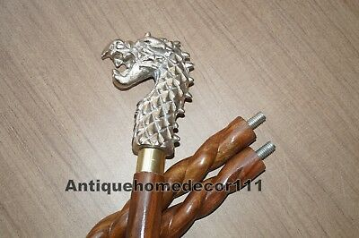 Silver Dragon Handle Brown Wooden Walking Cane Twist Cane Vintage Gift Item