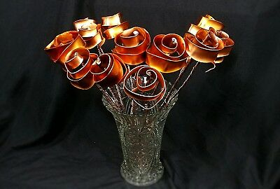 Set of 7 Bright Copper Forever Roses #813 Valentine's Anniversary Mother's Day