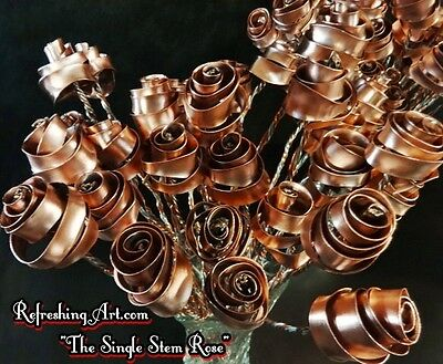 Set of 12 Bright Copper Forever Roses #813 Anniversary Valentine's Mother's Day