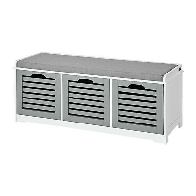 SoBuy® Padded Hallway Shoe Storage Seat Bench with 3 Drawers Grey, FSR23-HG,UK