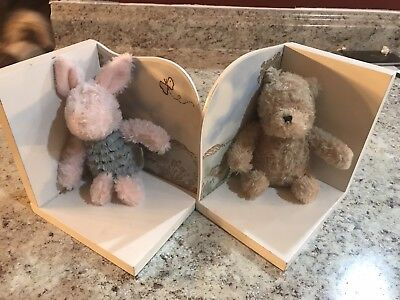 Classic WINNIE the Pooh and Piglet Bookends Plush & Wood Bookends