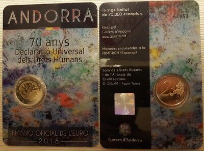 2 euro Andorra 2018 70° anniversary Declaration Human Rights coincard official