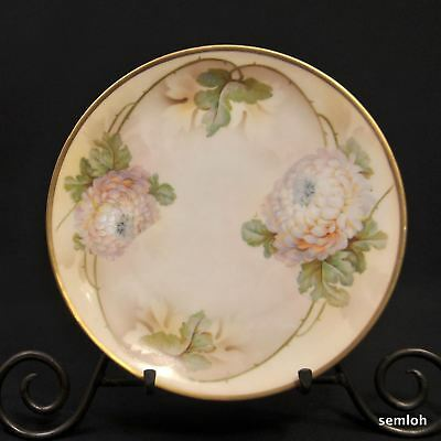 ES Germany PROV SXE SAXE Plate Handpainted White Chrysanthemums Gold 1902-1937