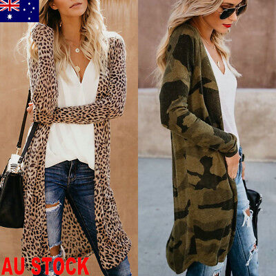 AU Women Long Sleeve Cardigan Leopard Kimono Shawl Loose Tops Blouse Coat Jacket