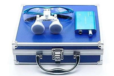 Dental Binocular Loupes 3.5X420Mm with LED Head Light Aluminum Box Blue