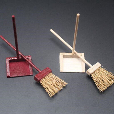 Dollhouse Dustpan & Brush Besom Broom Miniature Kitchen Cleaning Accessory Toy