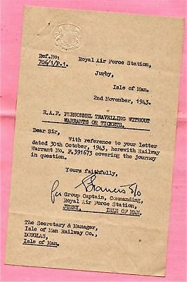 Isle of Man RAF HM Forces & railway paperwork to/from IMR 1870s-1946 inc wartime