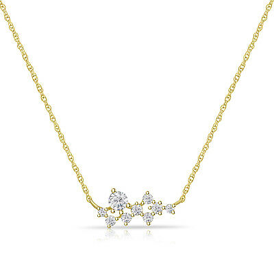 14k Yellow Gold Over 925 Sterling Silver Round Diamond Cluster Pendant Necklace