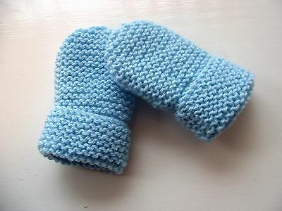 Baby Hand Knitted Mittens, Pale Blue, Acrylic, 6-12 Months New