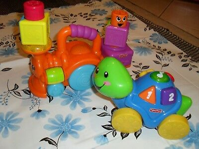 Fisher Price number sing along turtle & push along musical train babies toys VGC