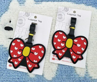 Red bowknot PVC Luggage Tag gift Pendants Portable Travel Label Suitcase hot