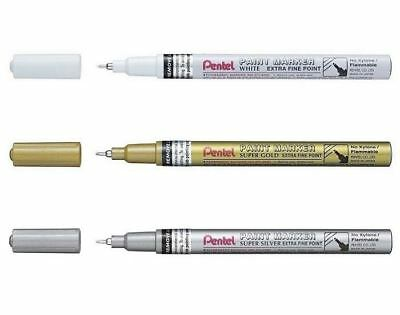 Pentel Permanent Paint Markers MFP10 Extra Fine Paint Marker - White Gold Silver