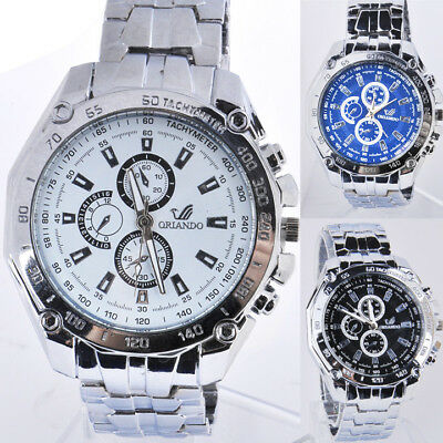 Stainless Steel Band Classic Quartz Round Analog Men's Casual Wrist Watch^^